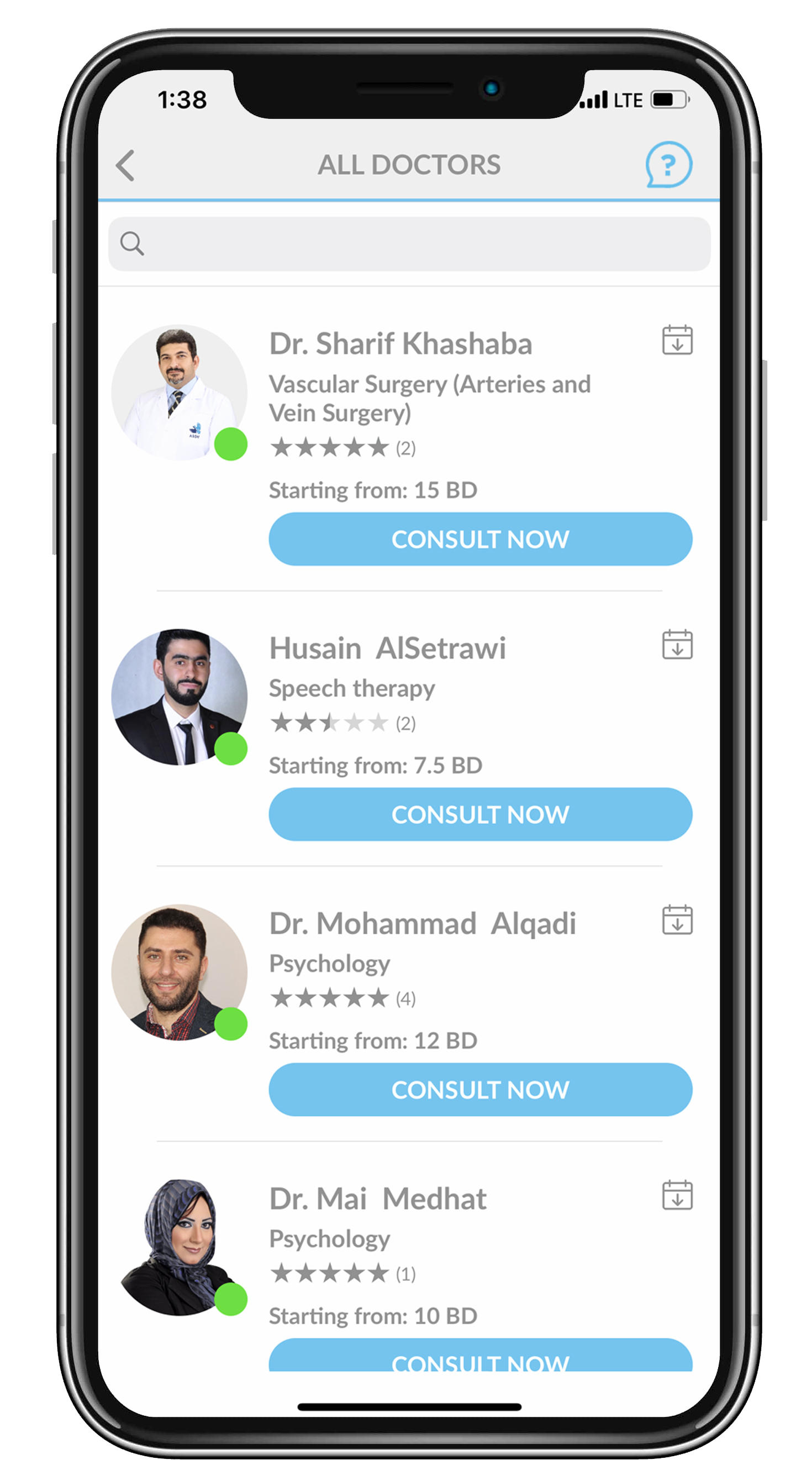 List of all doctors can be viewed on main page. Information of each doctor is prompted and their rate per 15-minute consultation.
