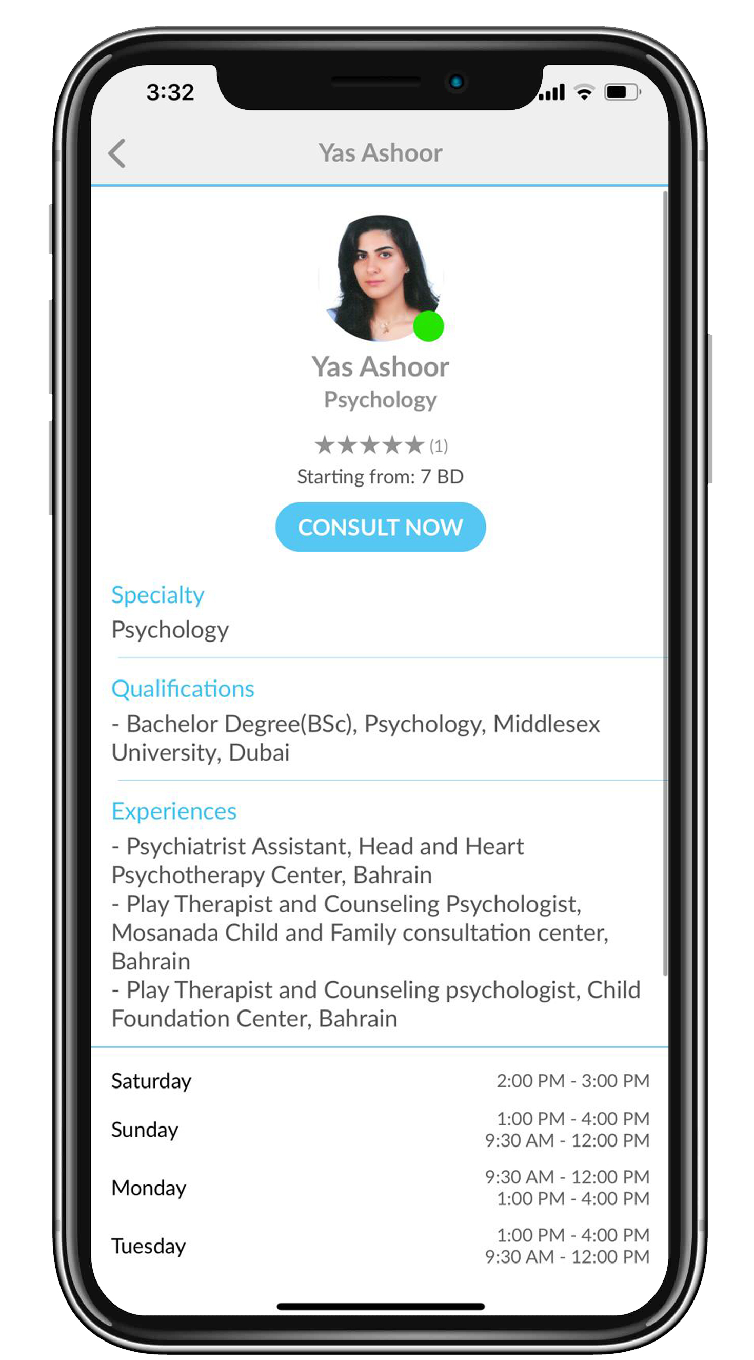 Clicking on a doctor name from the list will prompt the doctor profile with more detailed information