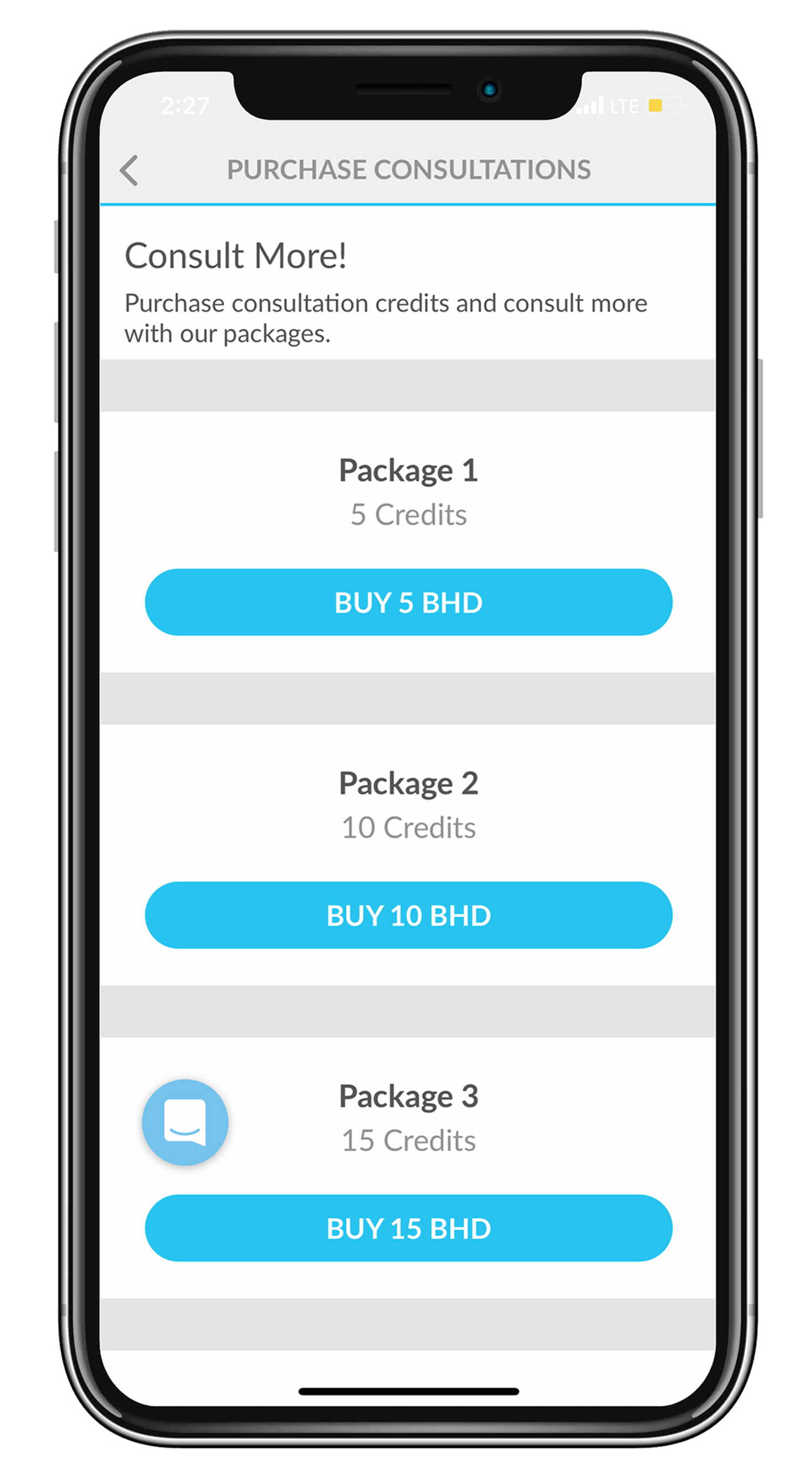 Card icon in profile page will prompt list of available packages for purchase using credit or debit card.